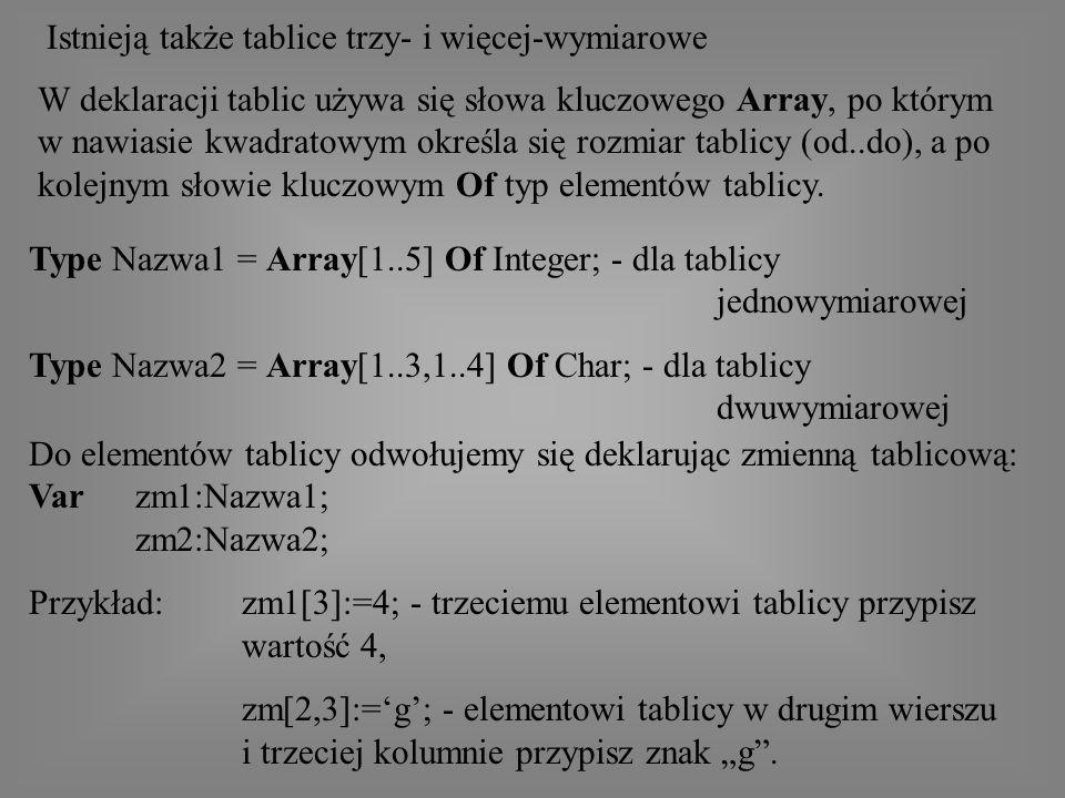 Istnieją także tablice trzy- i więcej-wymiarowe W deklaracji tablic używa się słowa kluczowego Array, po którym w nawiasie kwadratowym określa się rozmiar tablicy (od..do), a po kolejnym słowie kluczowym Of typ elementów tablicy.