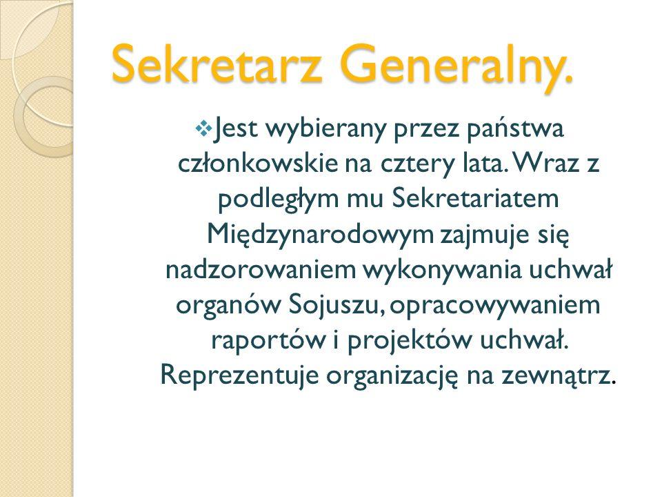 Sekretarz Generalny. Jest wybierany przez państwa członkowskie na cztery lata. Wraz z podległym mu Sekretariatem Międzynarodowym zajmuje się nadzorowa