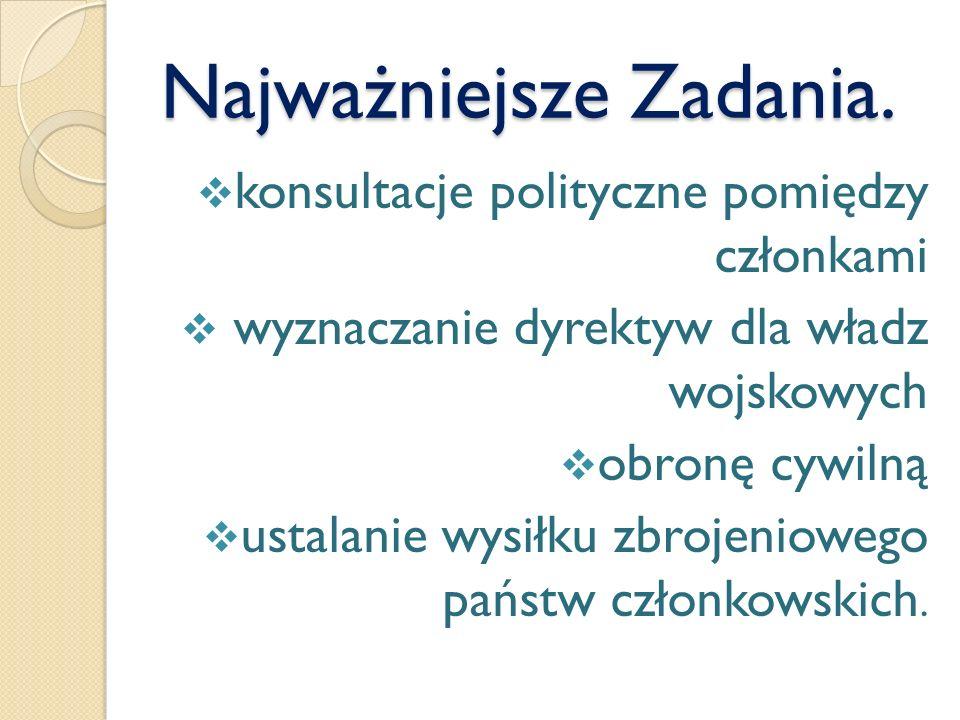 Najważniejsze Zadania. konsultacje polityczne pomiędzy członkami wyznaczanie dyrektyw dla władz wojskowych obronę cywilną ustalanie wysiłku zbrojeniow