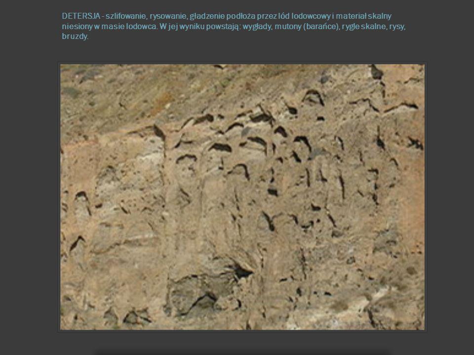 DETERSJA - szlifowanie, rysowanie, gładzenie podłoża przez lód lodowcowy i materiał skalny niesiony w masie lodowca. W jej wyniku powstają: wygłady, m