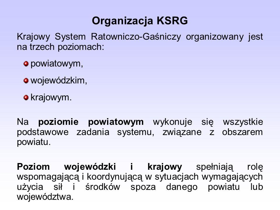 Organizacja KSRG Krajowy System Ratowniczo-Gaśniczy organizowany jest na trzech poziomach: powiatowym, wojewódzkim, krajowym. Na poziomie powiatowym w
