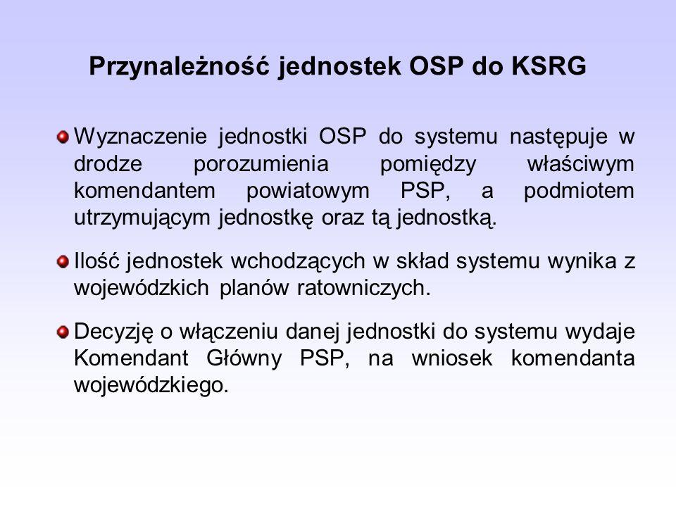 Przynależność jednostek OSP do KSRG Wyznaczenie jednostki OSP do systemu następuje w drodze porozumienia pomiędzy właściwym komendantem powiatowym PSP, a podmiotem utrzymującym jednostkę oraz tą jednostką.