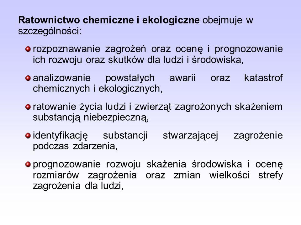 Ratownictwo chemiczne i ekologiczne obejmuje w szczególności: rozpoznawanie zagrożeń oraz ocenę i prognozowanie ich rozwoju oraz skutków dla ludzi i ś