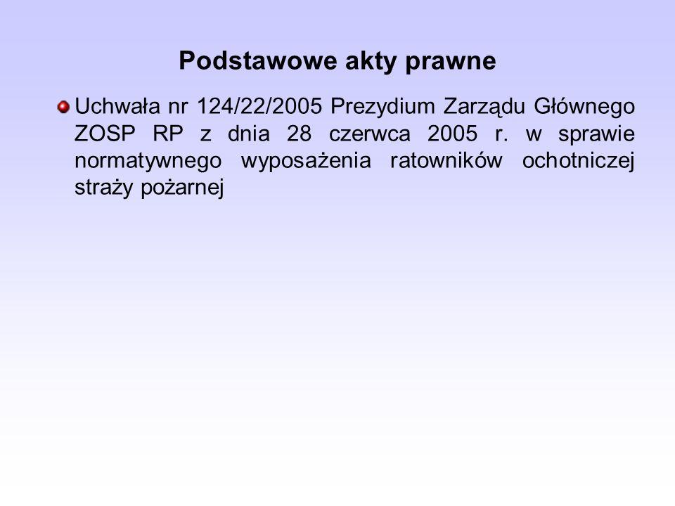 Uchwała nr 124/22/2005 Prezydium Zarządu Głównego ZOSP RP z dnia 28 czerwca 2005 r. w sprawie normatywnego wyposażenia ratowników ochotniczej straży p
