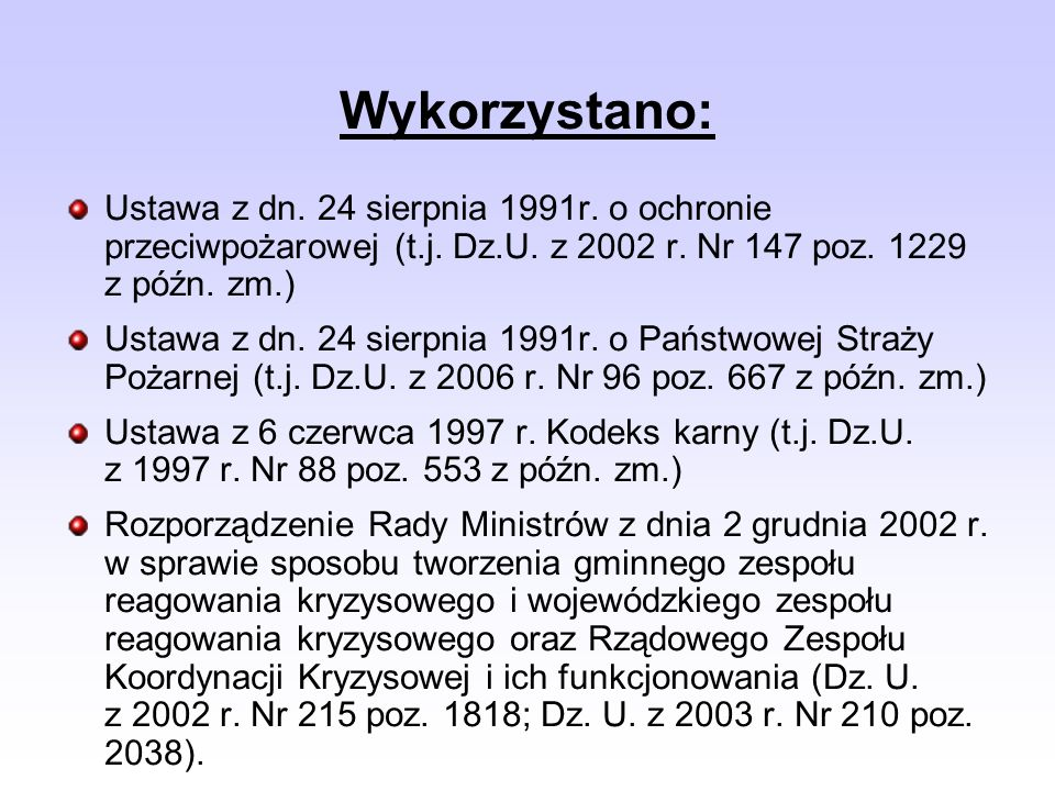 Ustawa z dn.24 sierpnia 1991r. o ochronie przeciwpożarowej (t.j.