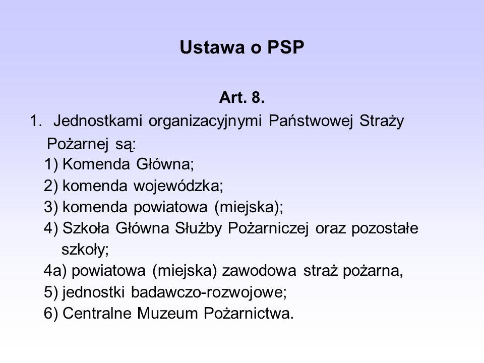 Ustawa o PSP 1) Komenda Główna; 2) komenda wojewódzka; 3) komenda powiatowa (miejska); 4) Szkoła Główna Służby Pożarniczej oraz pozostałe szkoły; 4a)