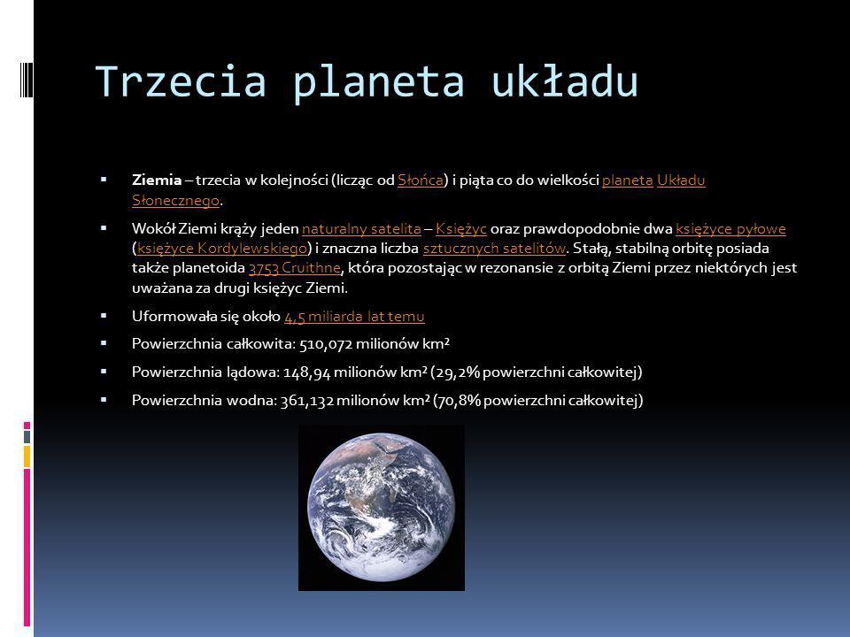 Trzecia planeta układu Ziemia – trzecia w kolejności (licząc od Słońca) i piąta co do wielkości planeta Układu Słonecznego.SłońcaplanetaUkładu Słonecz