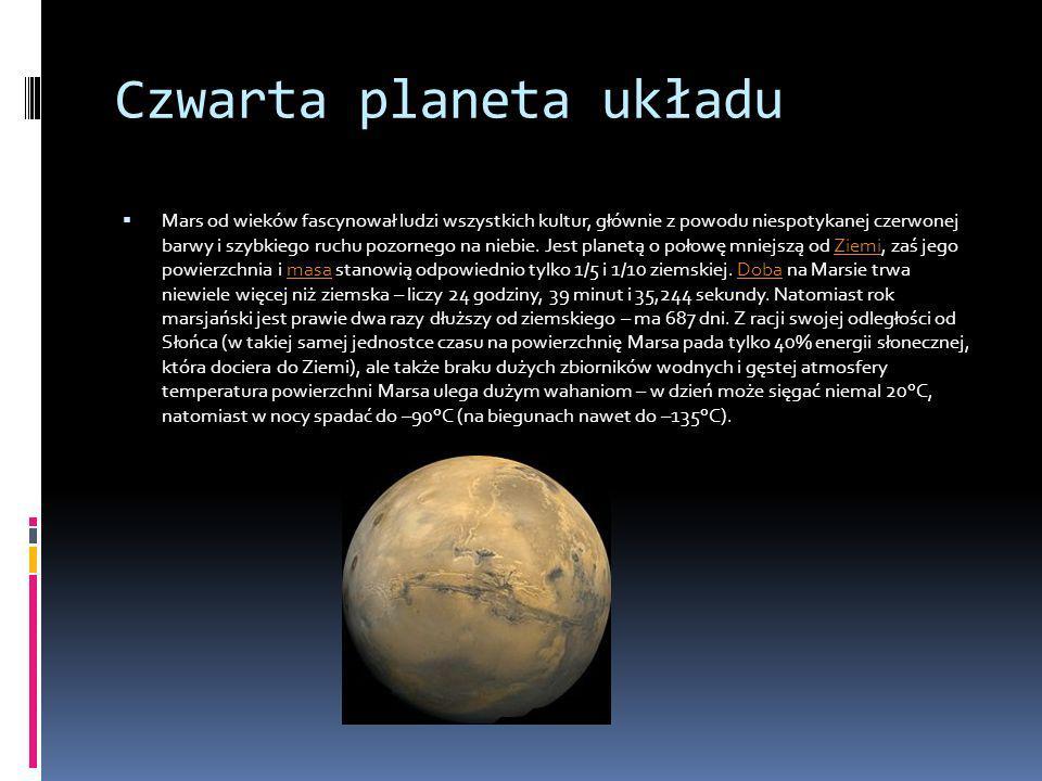Czwarta planeta układu Mars od wieków fascynował ludzi wszystkich kultur, głównie z powodu niespotykanej czerwonej barwy i szybkiego ruchu pozornego n