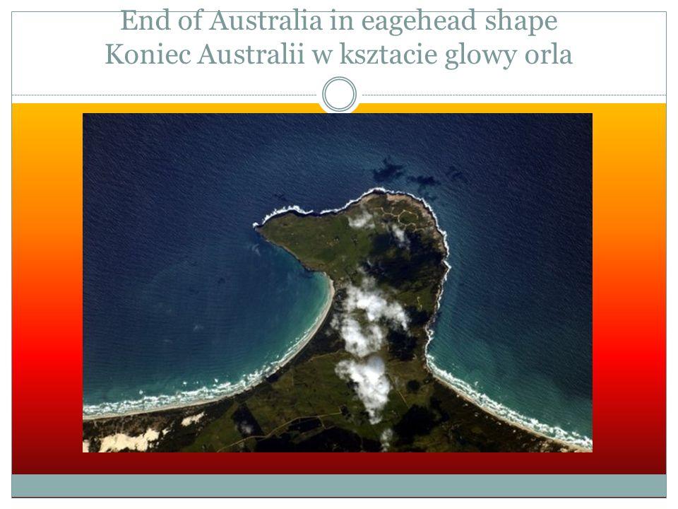 End of Australia in eagehead shape Koniec Australii w ksztacie glowy orla