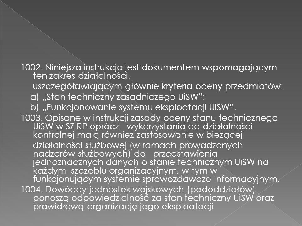 1002. Niniejsza instrukcja jest dokumentem wspomagającym ten zakres działalności, uszczegóławiającym głównie kryteria oceny przedmiotów: a) Stan techn
