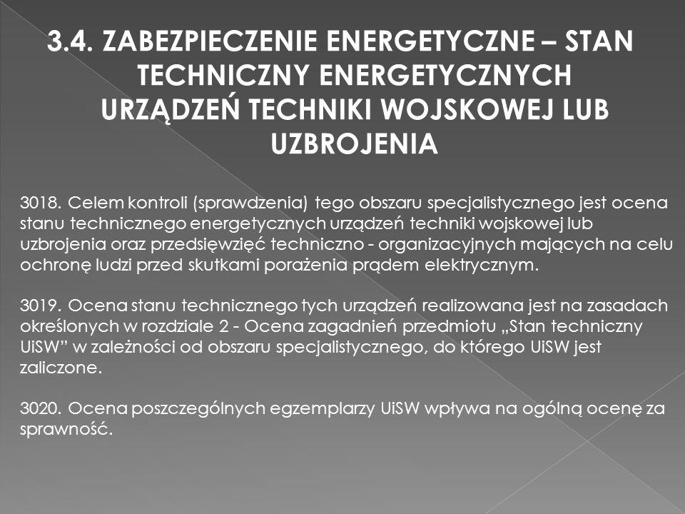 3.4. ZABEZPIECZENIE ENERGETYCZNE – STAN TECHNICZNY ENERGETYCZNYCH URZĄDZEŃ TECHNIKI WOJSKOWEJ LUB UZBROJENIA 3018. Celem kontroli (sprawdzenia) tego o