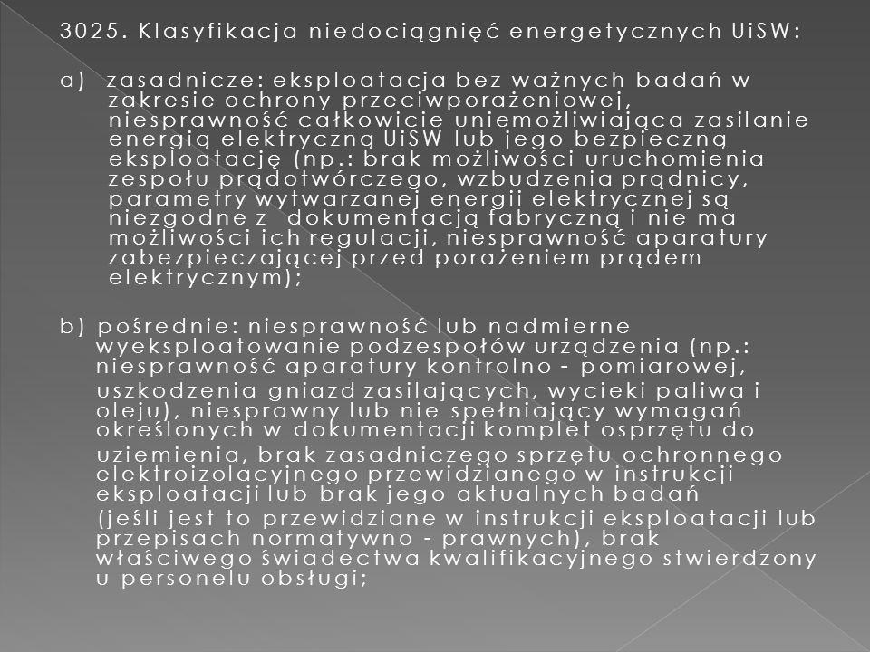 3025. Klasyfikacja niedociągnięć energetycznych UiSW: a) zasadnicze: eksploatacja bez ważnych badań w zakresie ochrony przeciwporażeniowej, niesprawno