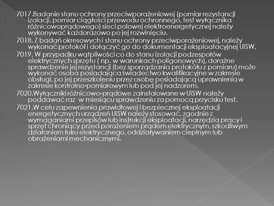 7017.Badanie stanu ochrony przeciwporażeniowej (pomiar rezystancji izolacji, pomiar ciągłości przewodu ochronnego, test wyłącznika różnicowoprądowego)