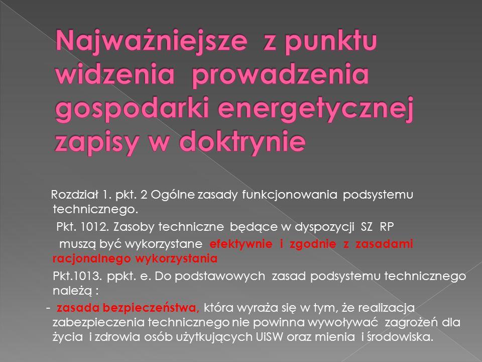Rozdział 1. pkt. 2 Ogólne zasady funkcjonowania podsystemu technicznego. Pkt. 1012. Zasoby techniczne będące w dyspozycji SZ RP muszą być wykorzystane