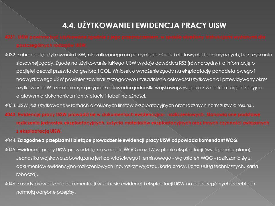 4.4. UŻYTKOWANIE I EWIDENCJA PRACY UiSW 4031. UiSW powinno być użytkowane zgodnie z jego przeznaczeniem, w sposób określony instrukcjami wydanymi dla