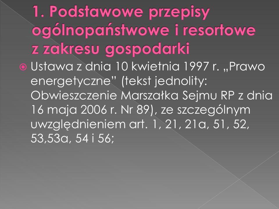 Ustawa z dnia 10 kwietnia 1997 r. Prawo energetyczne (tekst jednolity: Obwieszczenie Marszałka Sejmu RP z dnia 16 maja 2006 r. Nr 89), ze szczególnym