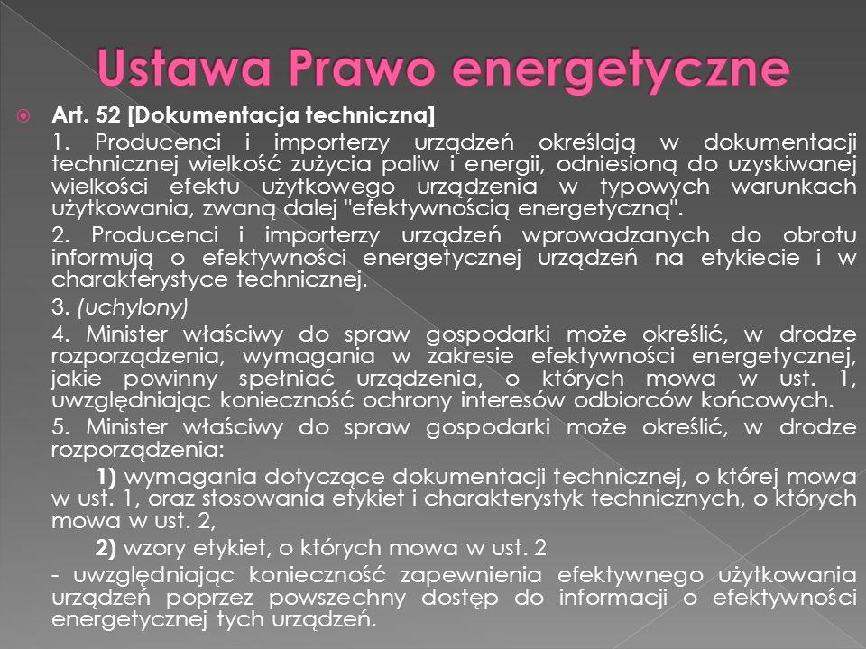 Art. 52 [Dokumentacja techniczna] 1. Producenci i importerzy urządzeń określają w dokumentacji technicznej wielkość zużycia paliw i energii, odniesion