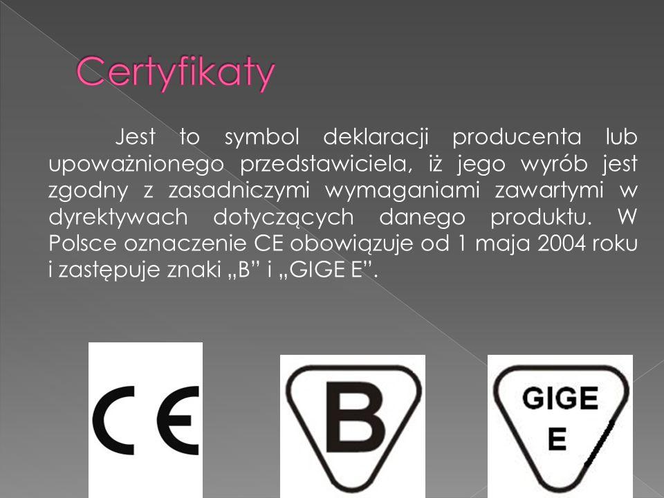Jest to symbol deklaracji producenta lub upoważnionego przedstawiciela, iż jego wyrób jest zgodny z zasadniczymi wymaganiami zawartymi w dyrektywach d
