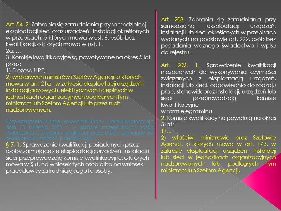 Art. 208. Zabrania się zatrudniania przy samodzielnej eksploatacji urządzeń, instalacji lub sieci określonych w przepisach wydanych na podstawie art.