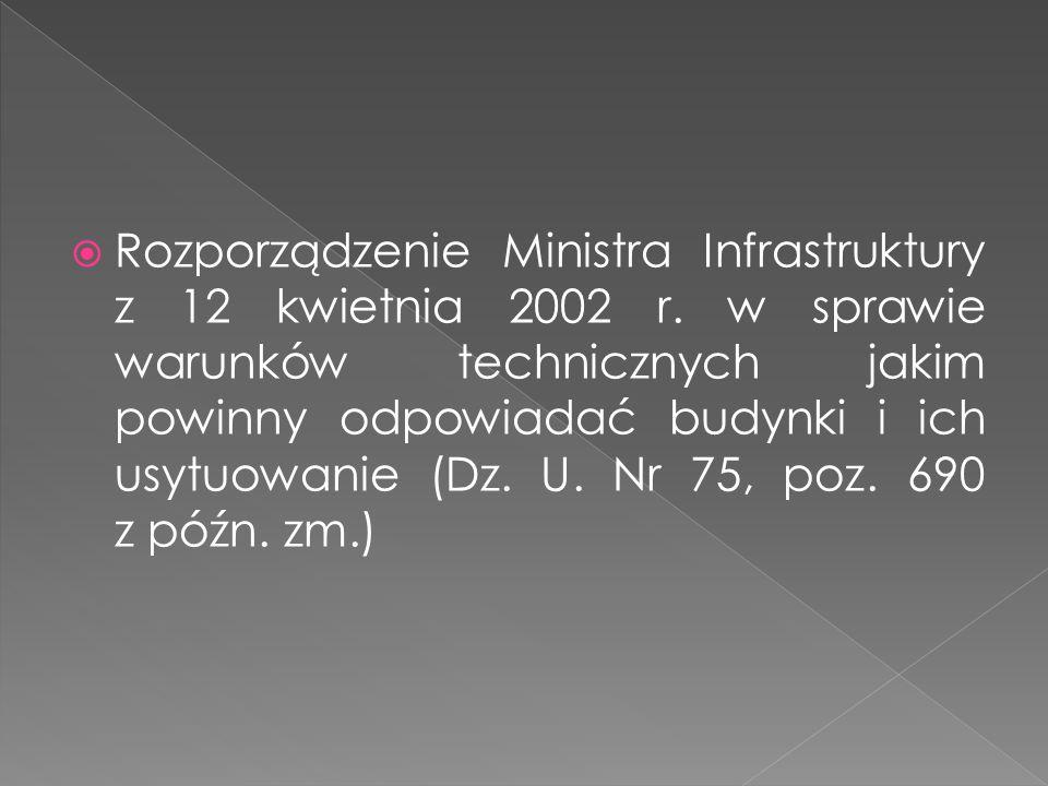 Rozporządzenie Ministra Infrastruktury z 12 kwietnia 2002 r. w sprawie warunków technicznych jakim powinny odpowiadać budynki i ich usytuowanie (Dz. U