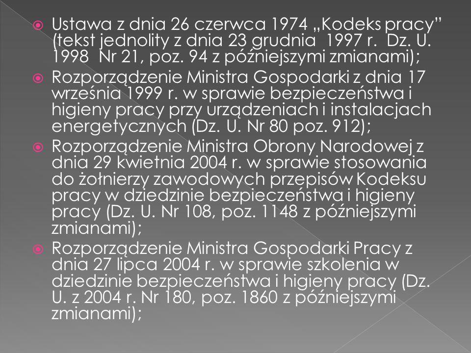 Ustawa z dnia 26 czerwca 1974 Kodeks pracy (tekst jednolity z dnia 23 grudnia 1997 r. Dz. U. 1998 Nr 21, poz. 94 z późniejszymi zmianami); Rozporządze