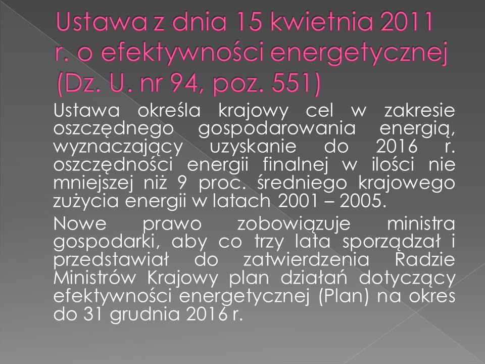 Ustawa określa krajowy cel w zakresie oszczędnego gospodarowania energią, wyznaczający uzyskanie do 2016 r. oszczędności energii finalnej w ilości nie