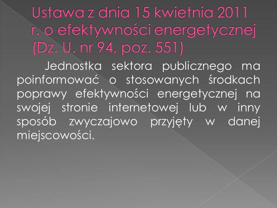 Jednostka sektora publicznego ma poinformować o stosowanych środkach poprawy efektywności energetycznej na swojej stronie internetowej lub w inny spos