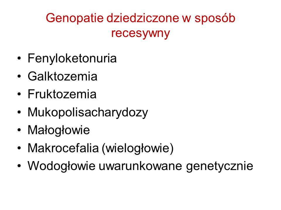 Genopatie dziedziczone w sposób recesywny Fenyloketonuria Galktozemia Fruktozemia Mukopolisacharydozy Małogłowie Makrocefalia (wielogłowie) Wodogłowie