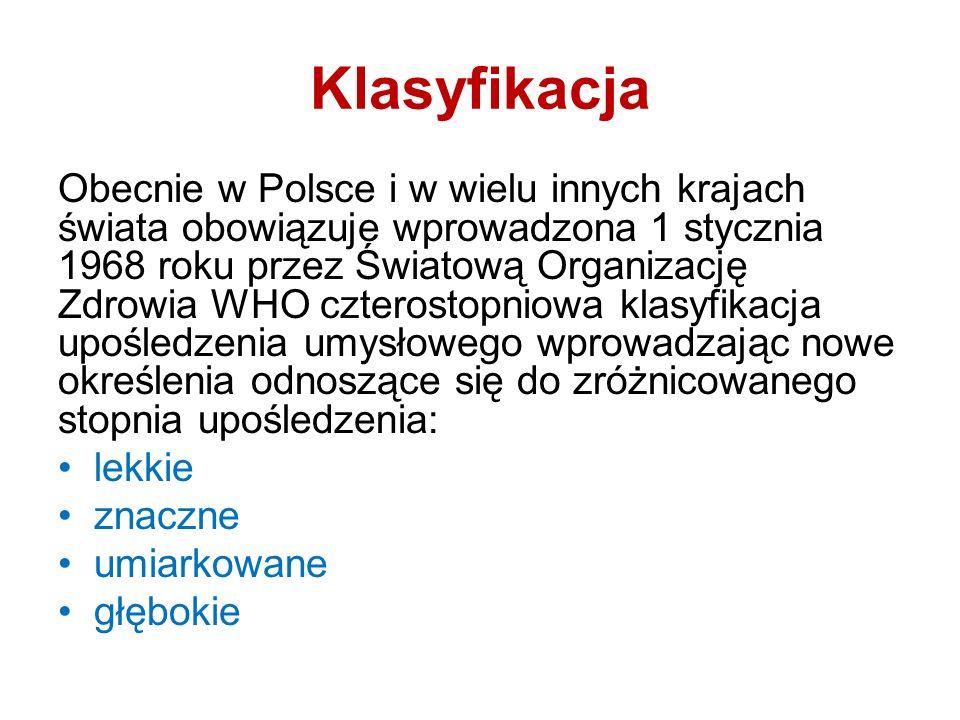 Klasyfikacja Obecnie w Polsce i w wielu innych krajach świata obowiązuje wprowadzona 1 stycznia 1968 roku przez Światową Organizację Zdrowia WHO czter