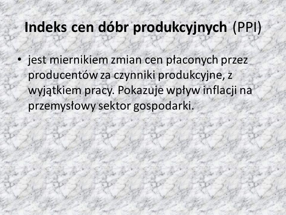 Indeks cen dóbr produkcyjnych (PPI) jest miernikiem zmian cen płaconych przez producentów za czynniki produkcyjne, z wyjątkiem pracy. Pokazuje wpływ i