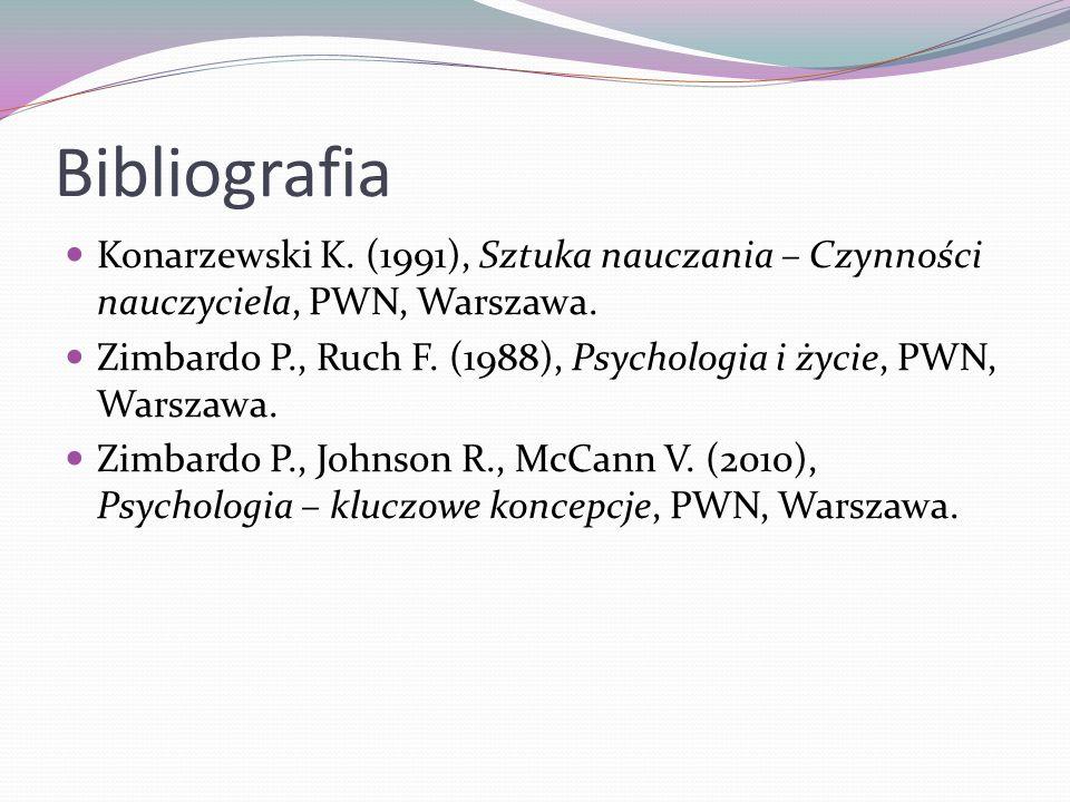Bibliografia Konarzewski K. (1991), Sztuka nauczania – Czynności nauczyciela, PWN, Warszawa. Zimbardo P., Ruch F. (1988), Psychologia i życie, PWN, Wa