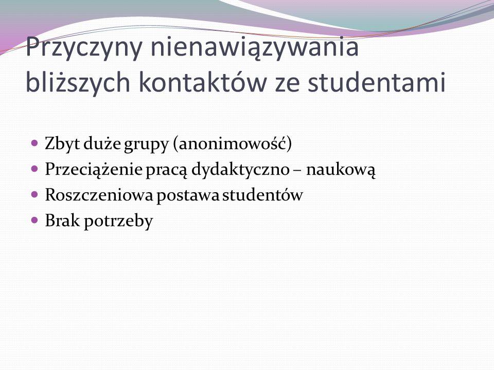 Przyczyny nienawiązywania bliższych kontaktów ze studentami Zbyt duże grupy (anonimowość) Przeciążenie pracą dydaktyczno – naukową Roszczeniowa postaw