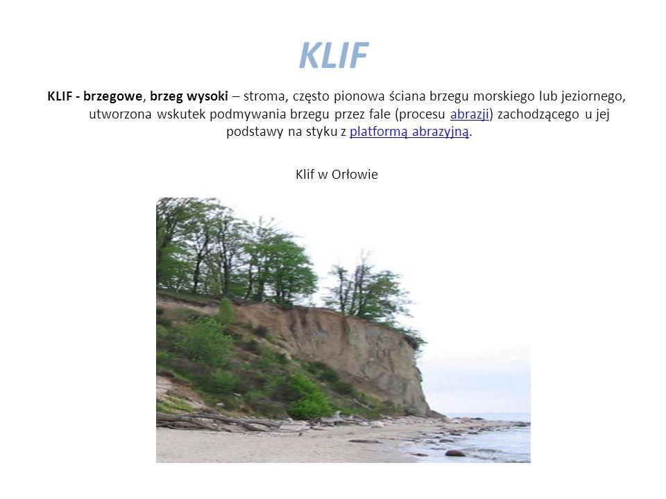 KLIF KLIF - brzegowe, brzeg wysoki – stroma, często pionowa ściana brzegu morskiego lub jeziornego, utworzona wskutek podmywania brzegu przez fale (procesu abrazji) zachodzącego u jej podstawy na styku z platformą abrazyjną.abrazjiplatformą abrazyjną Klif w Orłowie