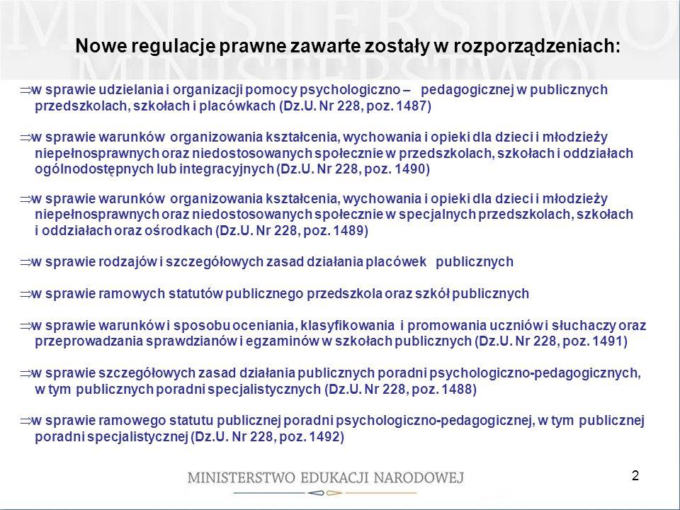 2 Nowe regulacje prawne zawarte zostały w rozporządzeniach: w sprawie udzielania i organizacji pomocy psychologiczno – pedagogicznej w publicznych przedszkolach, szkołach i placówkach (Dz.U.