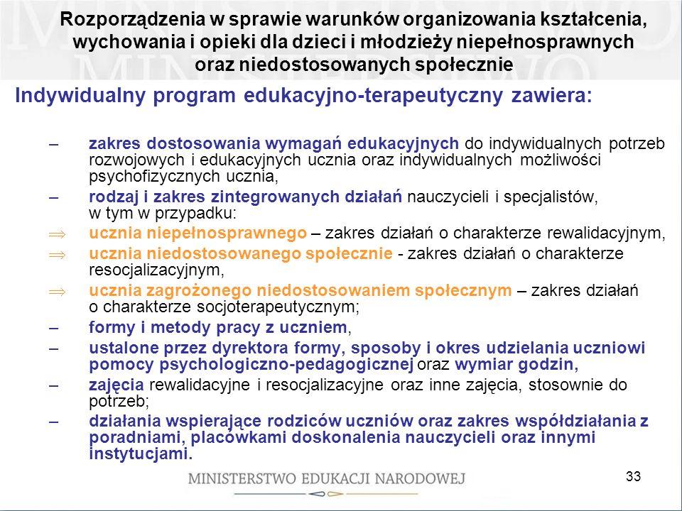 33 Indywidualny program edukacyjno-terapeutyczny zawiera: –zakres dostosowania wymagań edukacyjnych do indywidualnych potrzeb rozwojowych i edukacyjnych ucznia oraz indywidualnych możliwości psychofizycznych ucznia, –rodzaj i zakres zintegrowanych działań nauczycieli i specjalistów, w tym w przypadku: ucznia niepełnosprawnego – zakres działań o charakterze rewalidacyjnym, ucznia niedostosowanego społecznie - zakres działań o charakterze resocjalizacyjnym, ucznia zagrożonego niedostosowaniem społecznym – zakres działań o charakterze socjoterapeutycznym; –formy i metody pracy z uczniem, –ustalone przez dyrektora formy, sposoby i okres udzielania uczniowi pomocy psychologiczno-pedagogicznej oraz wymiar godzin, –zajęcia rewalidacyjne i resocjalizacyjne oraz inne zajęcia, stosownie do potrzeb; –działania wspierające rodziców uczniów oraz zakres współdziałania z poradniami, placówkami doskonalenia nauczycieli oraz innymi instytucjami.