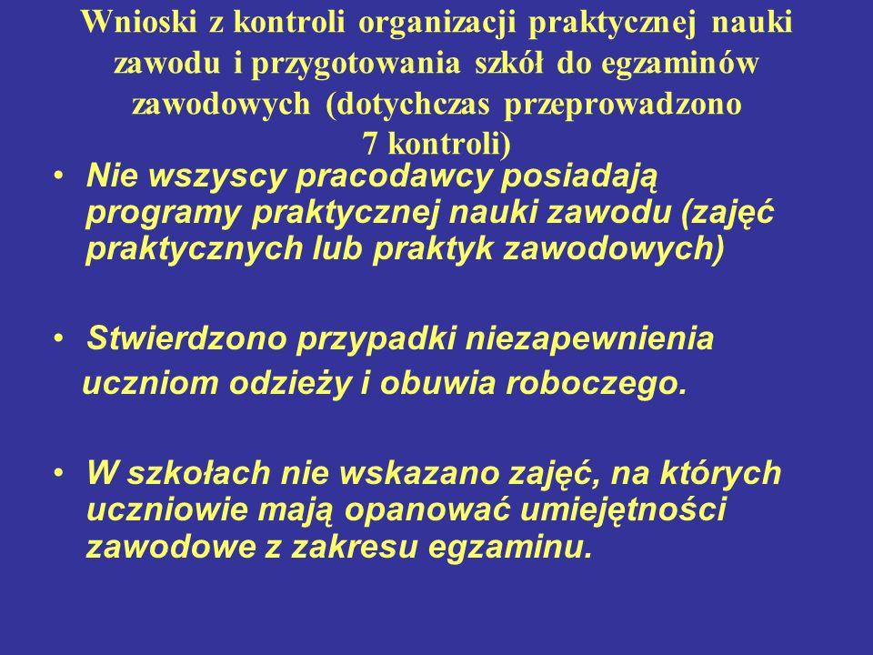 Wnioski z kontroli organizacji praktycznej nauki zawodu i przygotowania szkół do egzaminów zawodowych (dotychczas przeprowadzono 7 kontroli) Nie wszys