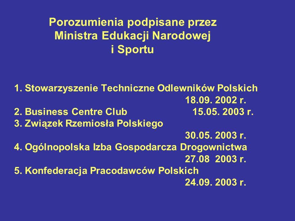 Porozumienia podpisane przez Ministra Edukacji Narodowej i Sportu 1. Stowarzyszenie Techniczne Odlewników Polskich 18.09. 2002 r. 2. Business Centre C
