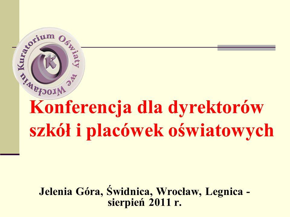 Działalność innowacyjna, praca z uczniem zdolnym w roku szkolnym 2010/2011 Zgłoszone do KO we Wrocławiu: - innowacje pedagogiczne - 236, - eksperymenty pedagogiczne – 4 Szkoły posiadające certyfikat szkoły wspierającej uzdolnienia – 39 Szkoły ubiegające się o przyznanie lub przedłużenie certyfikatu szkoły wspierającej uzdolnienia – 20 Szkoły, których uczniowie uzyskali tytuł laureata lub finalisty olimpiady lub turnieju – 40 Zgłoszone do KO wycieczki zagraniczne - 1256