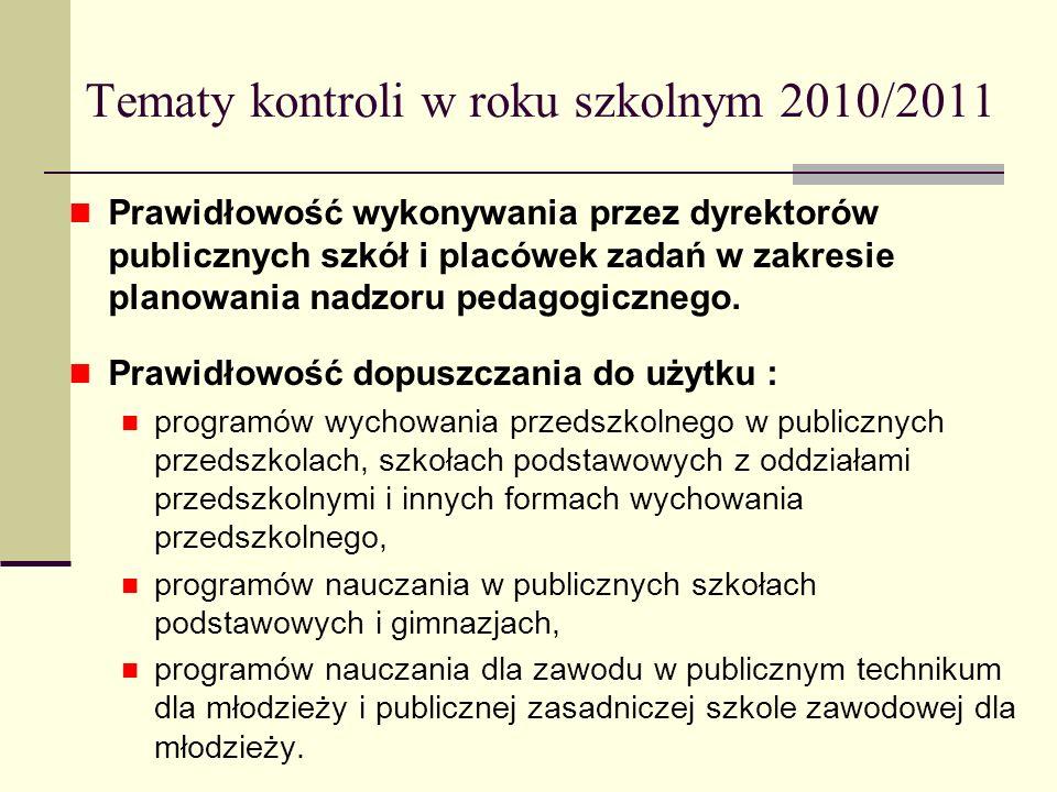 Tematy kontroli w roku szkolnym 2010/2011 Prawidłowość wykonywania przez dyrektorów publicznych szkół i placówek zadań w zakresie planowania nadzoru p