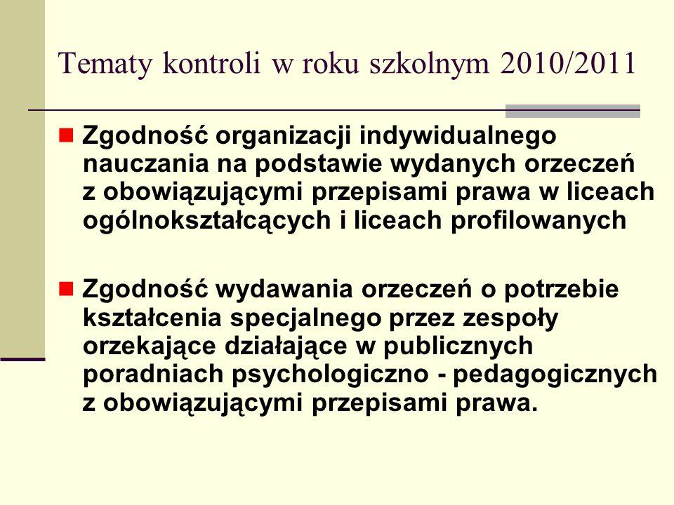 Tematy kontroli w roku szkolnym 2010/2011 Zgodność organizacji indywidualnego nauczania na podstawie wydanych orzeczeń z obowiązującymi przepisami pra