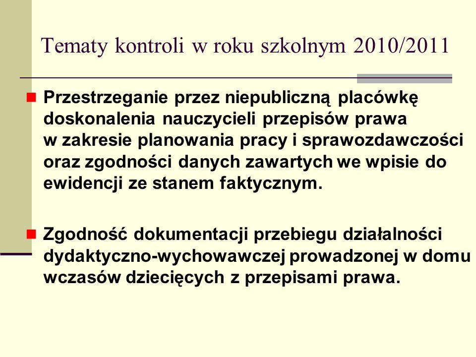 Tematy kontroli w roku szkolnym 2010/2011 Przestrzeganie przez niepubliczną placówkę doskonalenia nauczycieli przepisów prawa w zakresie planowania pr