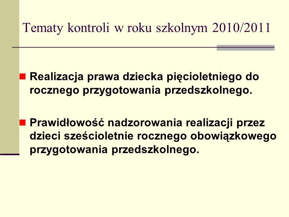 Tematy kontroli w roku szkolnym 2010/2011 Realizacja prawa dziecka pięcioletniego do rocznego przygotowania przedszkolnego. Prawidłowość nadzorowania