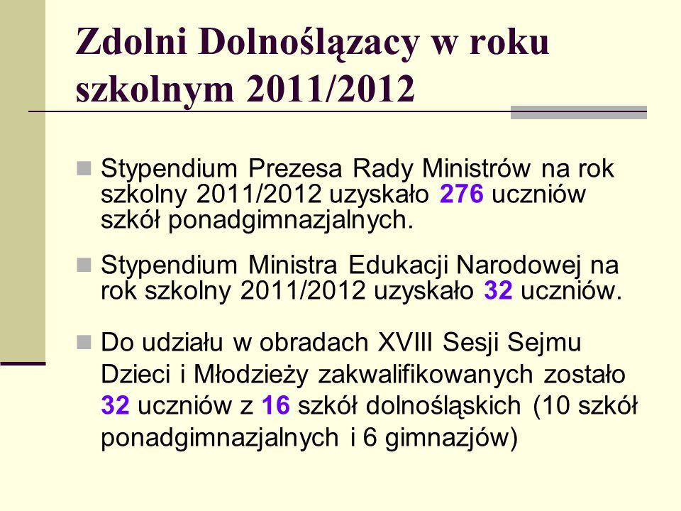 Zdolni Dolnoślązacy w roku szkolnym 2011/2012 Stypendium Prezesa Rady Ministrów na rok szkolny 2011/2012 uzyskało 276 uczniów szkół ponadgimnazjalnych