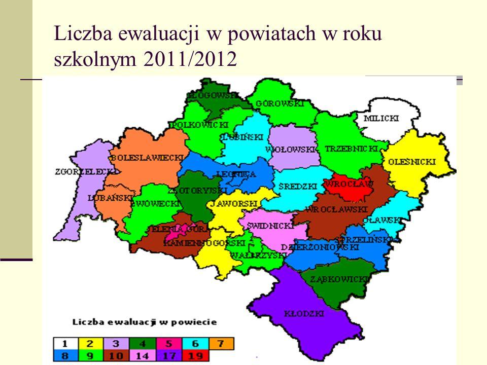 Liczba ewaluacji w powiatach w roku szkolnym 2011/2012