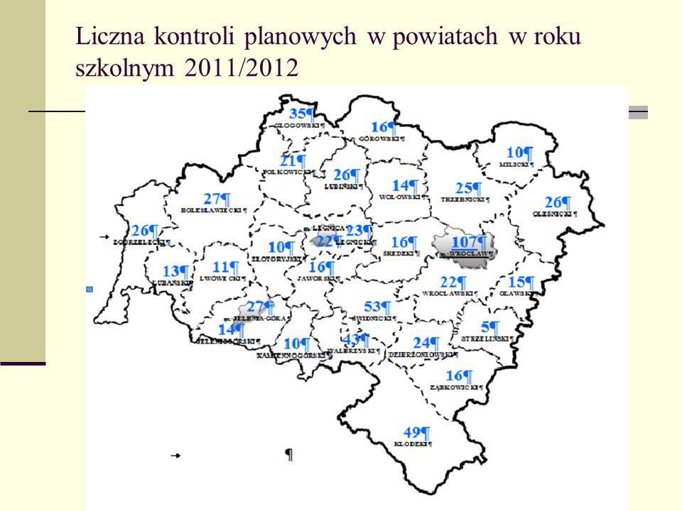 Liczna kontroli planowych w powiatach w roku szkolnym 2011/2012