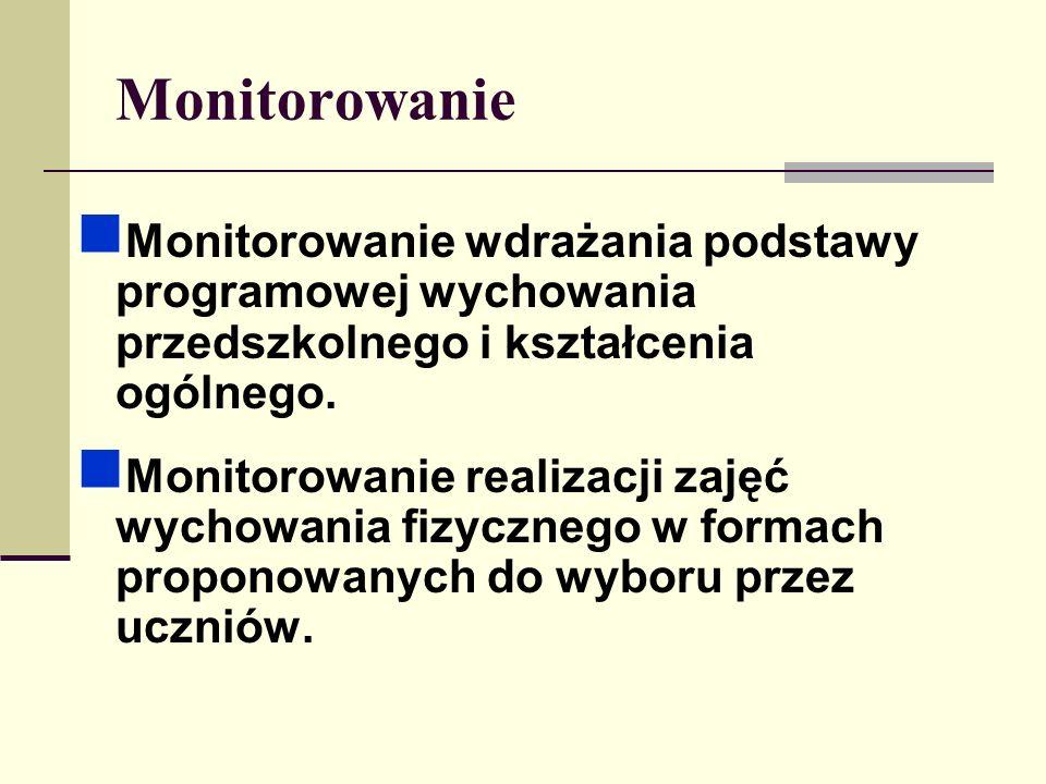 Monitorowanie Monitorowanie wdrażania podstawy programowej wychowania przedszkolnego i kształcenia ogólnego. Monitorowanie realizacji zajęć wychowania