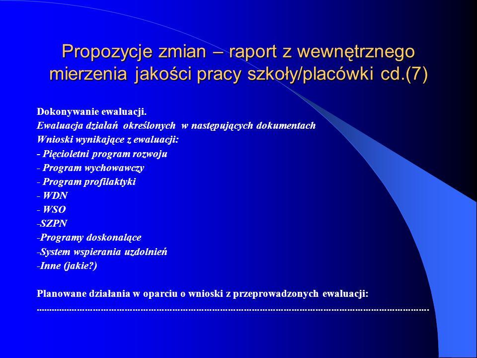 Propozycje zmian – raport z wewnętrznego mierzenia jakości pracy szkoły/placówki cd.(6) Prowadzenie hospitacji, w tym hospitacji diagnozującej z uwzględnieniem liczby poszczególnych rodzajów hospitacji.