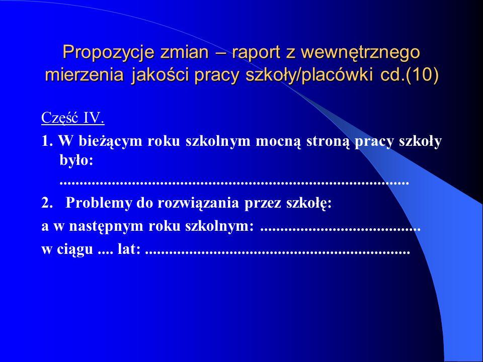 Propozycje zmian – raport z wewnętrznego mierzenia jakości pracy szkoły/placówki cd.(9) Realizacja zadań określonych w rocznym programie rozwoju szkoły: Zrealizowano wszystkie działania określone w programie: TAK/NIE (właściwe podkreślić) Proszę wskazać wnioski do dalszej pracy:.................................................................................................