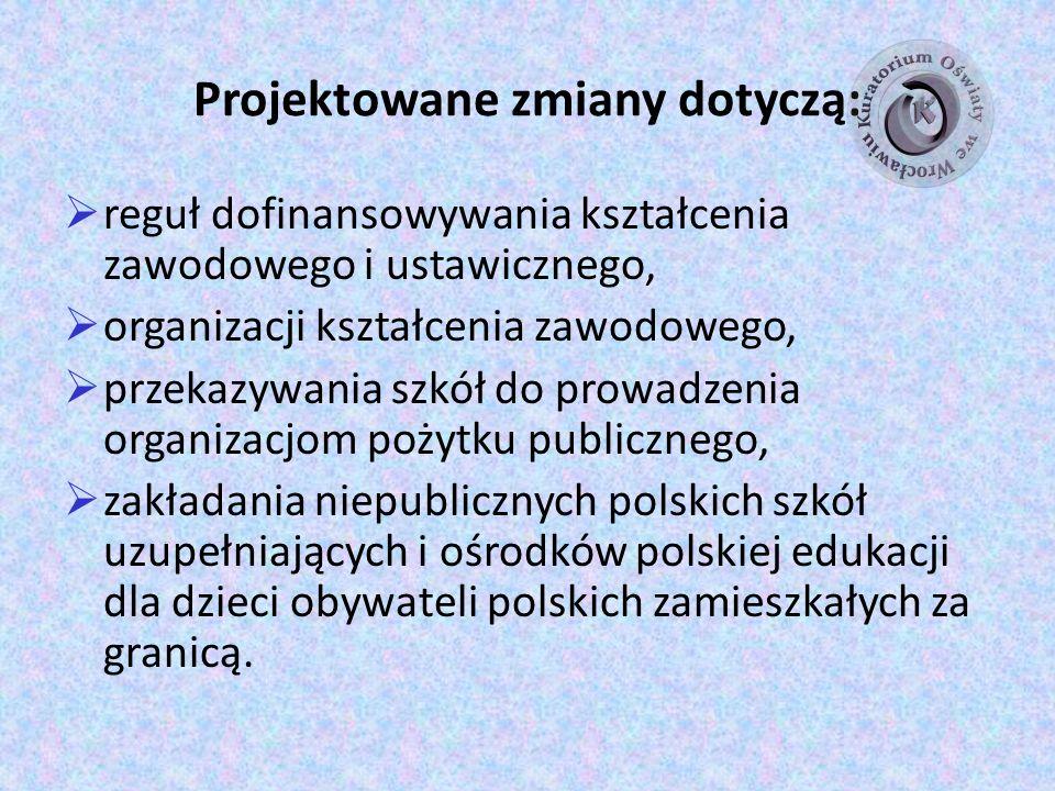 Projektowane zmiany dotyczą: reguł dofinansowywania kształcenia zawodowego i ustawicznego, organizacji kształcenia zawodowego, przekazywania szkół do prowadzenia organizacjom pożytku publicznego, zakładania niepublicznych polskich szkół uzupełniających i ośrodków polskiej edukacji dla dzieci obywateli polskich zamieszkałych za granicą.