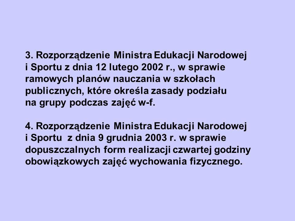 3. Rozporządzenie Ministra Edukacji Narodowej i Sportu z dnia 12 lutego 2002 r., w sprawie ramowych planów nauczania w szkołach publicznych, które okr